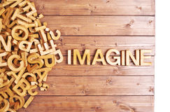 Word imagine made with wooden letters Royalty Free Stock Image