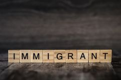 The word immigrant is made of bright wood cubes with black letters on a dark wooden background royalty free stock images