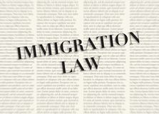 The word IMMIGRATION LAW written and highlighted in front of blurred text columns on background of light yellow color. Stock image vector illustration
