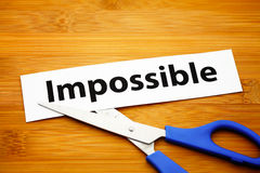 Word impossible cut to possible Royalty Free Stock Photo