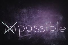 Chalkboard writing - concept of impossible or possible royalty free stock photo
