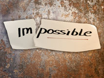 Word impossible transformed into possible royalty free stock image