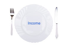 Word Income on plate Royalty Free Stock Image