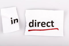 The word indirect changed to direct on torn paper Royalty Free Stock Image