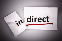 The word indirect changed to direct on torn paper Royalty Free Stock Images