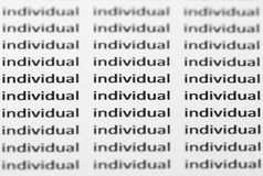 The word individual repeated with shallow focus Stock Images