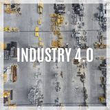 Word Industry 4.0 over industrial places from above. Stock Photo