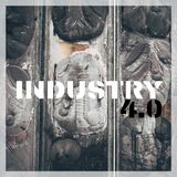 Word Industry 4.0 over industrial places from above. Stock Image