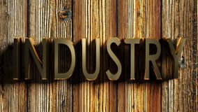 INDUSTRY brass write on wooden background - 3D rendering vector illustration