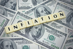 Word inflation on the american dollar money background Stock Photos