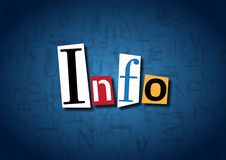 The word Info made from cutout letters. On a blue background Stock Images