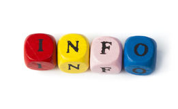 Word info on multicolored wooden cubes Stock Images