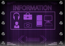 Word `information` on a dark background Royalty Free Stock Photos
