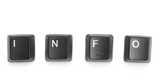Word information formed of letters keyboard buttons. Stock Image
