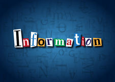 The word Information made from cutout letters. On a blue background Royalty Free Stock Photo