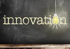 Word innovatie op bord met gloeiende gloeilamp stock foto