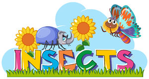 Word insects with beetle and butterfly in garden. Illustration Stock Photos