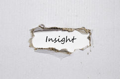 The word insight appearing behind torn paper Royalty Free Stock Images