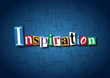 The word Inspiration made from cutout letters. On a blue background Royalty Free Stock Images