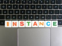 Word Instance on keyboard background royalty free stock photography