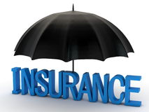 Word insurance and black umbrella Royalty Free Stock Photos
