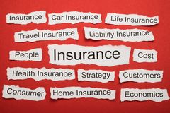 Word Insurance On Piece Of Torn Paper Stock Photos
