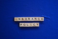 Insurance policy on background stock image