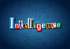 The word Intelligence made from cutout letters. On a blue background Stock Photography