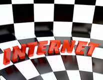 The Word Internet on Chess Background Stock Photo