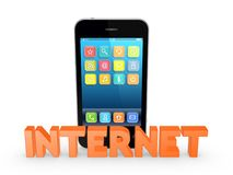Word INTERNET and mobile phone. Stock Photos