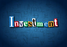 The word Investment made from cutout letters. On a blue background Royalty Free Stock Images