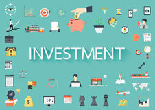 The word INVESTMENT surrounding by concerning flat icons Royalty Free Stock Image