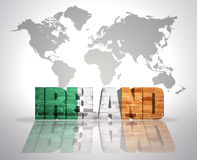 Word Ireland on a world map background vector illustration
