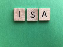Word ISA in wooden alphabet letters, Creative concept royalty free stock images