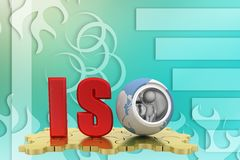 Word iso  concept on puzzle illustration Royalty Free Stock Images