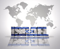 Word Israel on a world map background. Word Israel with Israeli Flag on a world map background Royalty Free Stock Photo