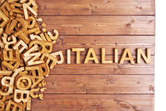 Word italian made with wooden letters Royalty Free Stock Images