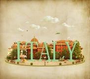 Word Italie sur la place illustration stock