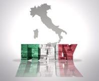 Word Italie sur un fond de carte illustration de vecteur