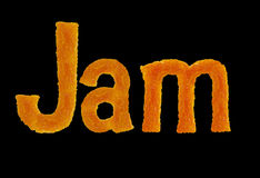 The word jam from letters isolated on black background Royalty Free Stock Photo