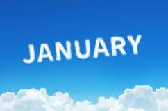 Word Januari van wolkenstoom wordt gemaakt op blauwe hemelachtergrond die Maand planning, tijdschemaconcept Stock Foto's