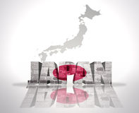 Word Japan on a map background. Word Japan with National Flag near map of Japan Royalty Free Stock Photos