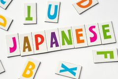 Word japanese made of colorful letters. On white background royalty free stock photo