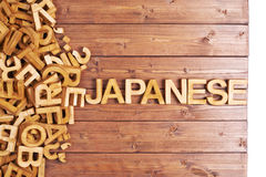 Word japanese made with wooden letters Royalty Free Stock Images