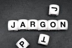 Word jargon op stuk speelgoed kubussen stock afbeeldingen