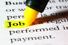 Word job highlighted with a yellow marker. The word job written on paper and highlighted with a yellow marker Stock Photo
