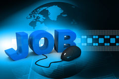 Word jobs connected to a computer mouse Stock Image