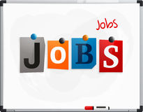 The word Jobs made from newspaper letters attached to a whiteboard or noticeboard with magnets. Marker pen. Vector. Royalty Free Stock Photo