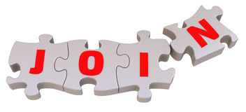The word JOIN is collected from puzzles Stock Photo