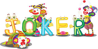 The word joker. An illustration of the word joker with three jokers Royalty Free Stock Photo